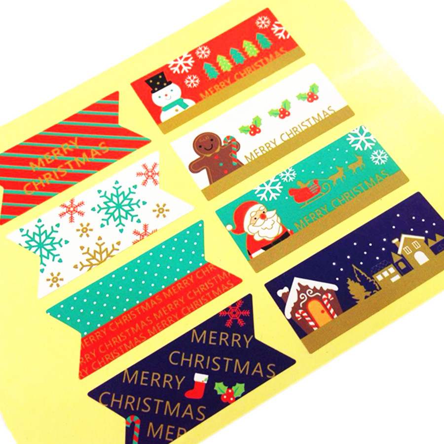 80pcs/lot Vintage Merry Christmas Series Seal Sticker Paper Adhesive DIY Homemade Products Gift Package Label