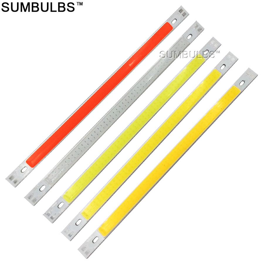 Big Promotion DC 12V LED COB Strip Bulb 1000LM 10W LED Bar Lights Lamp 200*10MM Warm Pure White Blue Red Green Yellow Lighting [sumbulbs] 200x10mm 0422 10w led light cob strip lamp dc 12 14v 1000lm green yellow red blue warm white pure white drl car light