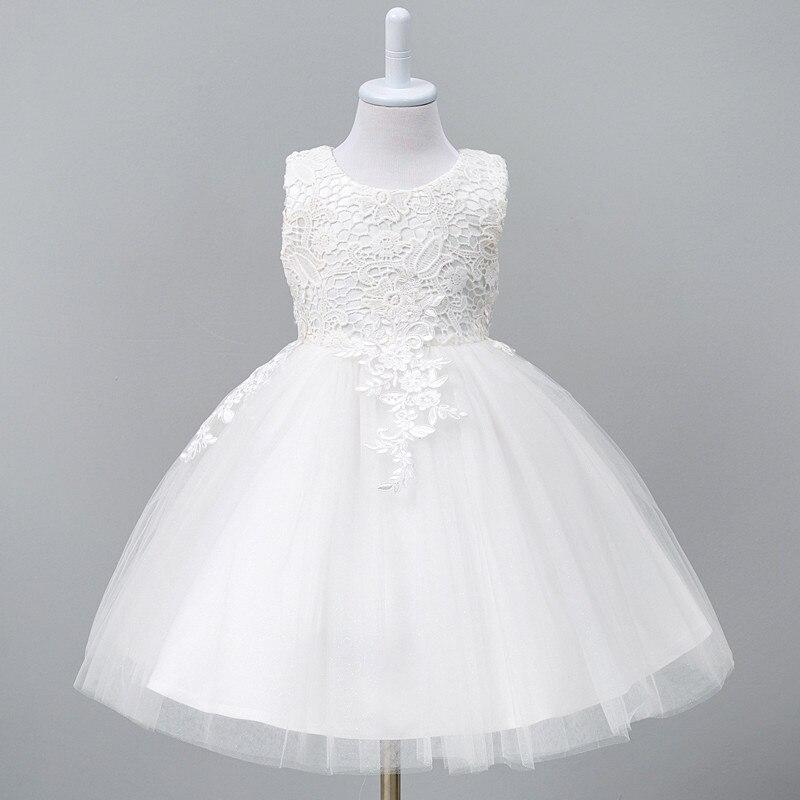 1-8year da criança do bebê tutu vestido branco vermelho vestido de baile festa palco princesa vestidos de dama de honra flor roupas da menina infantil
