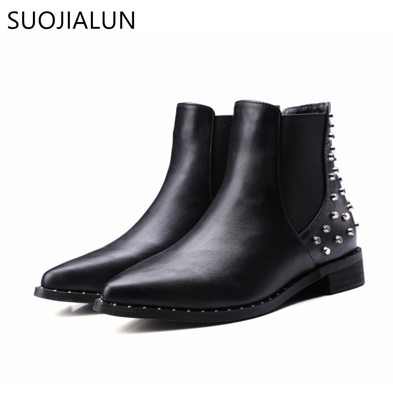 SUOJIALUN Plus Size 35 43 New 2017 Fashion Women Ankle Boots Autumn Winter Boots Classic Rivets