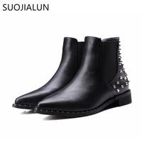SUOJIALUN Plus Size 35 43 New 2017 Fashion Women Ankle Boots Autumn Winter Boots Classic Rivets