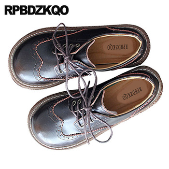 brown japanese school lace up casual vintage brogue walking wide fit shoes ladies flats british style chinese comfortable women