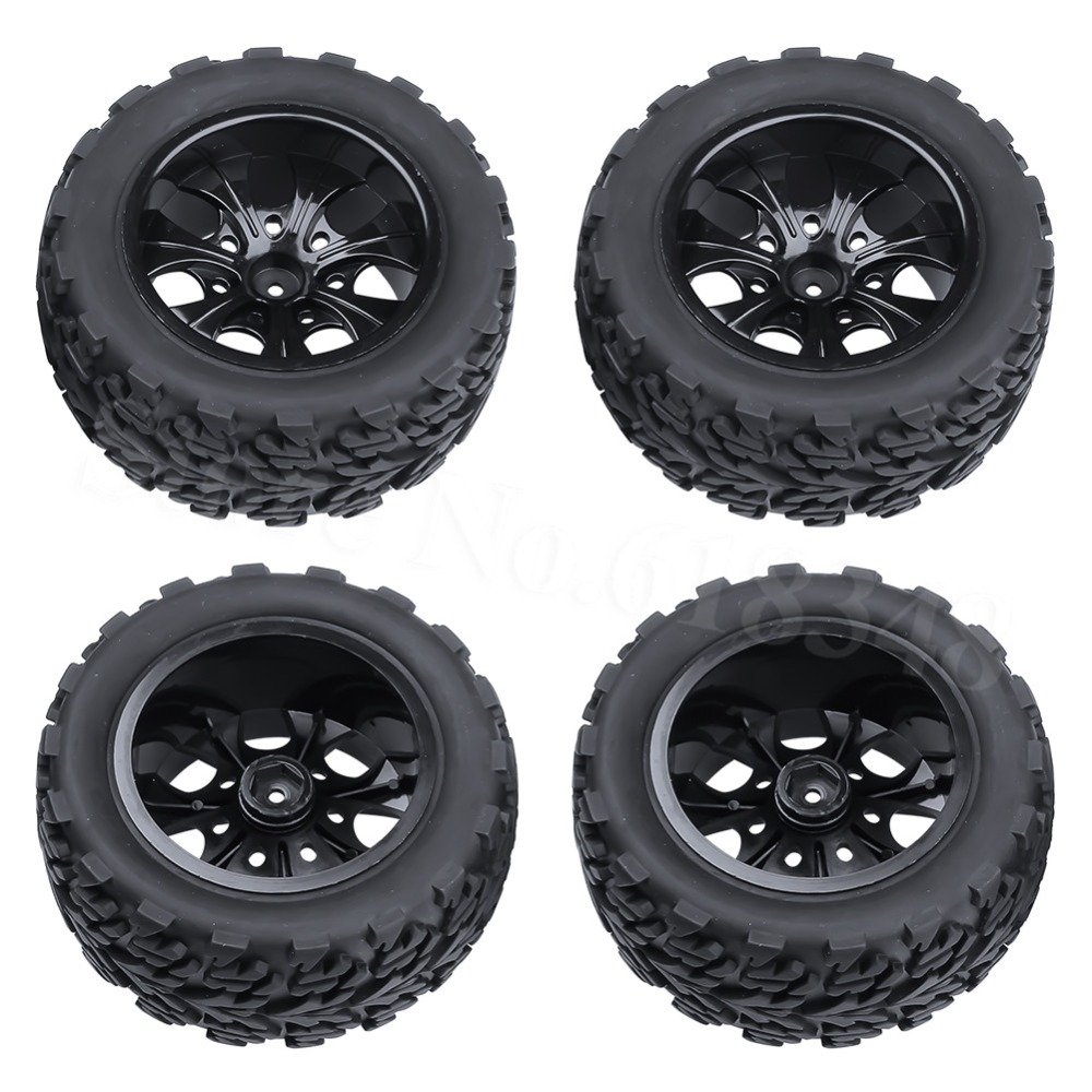 4pcs/Lot 2.2 Rubber RC 1/10 Truck Tires Wheel Rim 12 Hex For Exceed Redcat Axial Tamiya Traxxas HPI HSP Monster 4pcs rc monster truck wheel rim tires kit for 1 10 traxxas tamiya hsp hpi kyosho rc trucks car rubber tyre parts