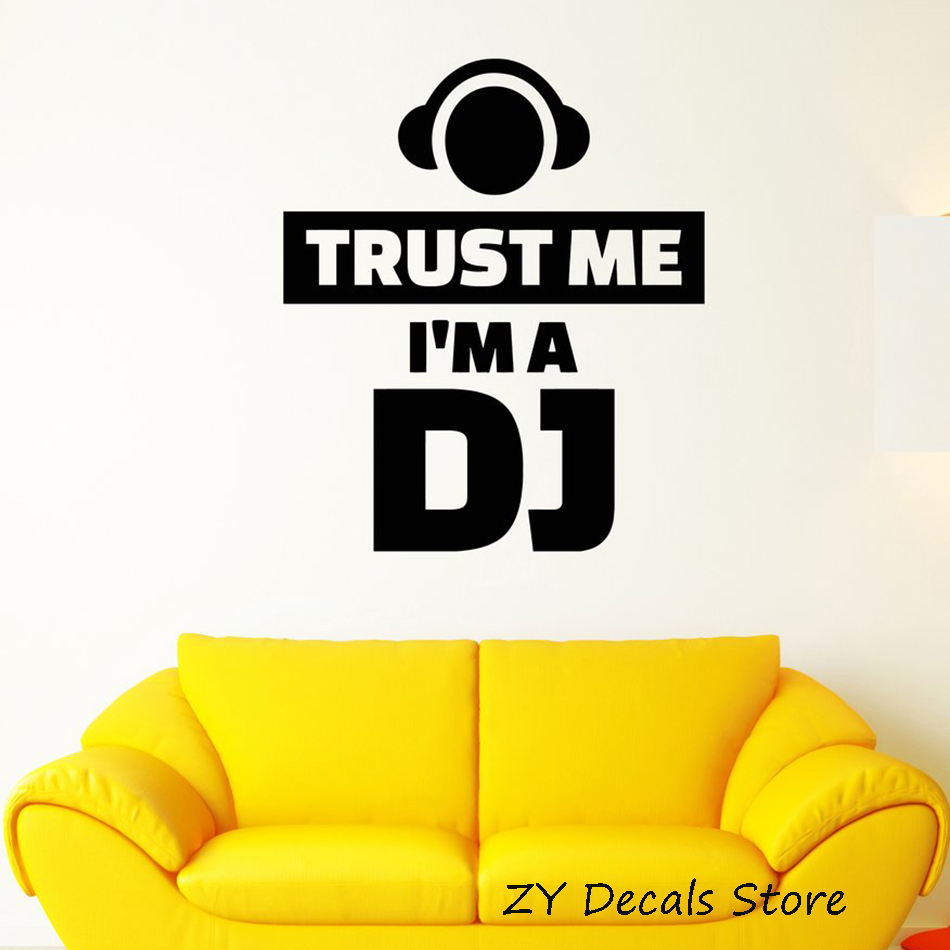 Funny Words Quotation Wall Decal Sticker Trust Me I'm A DJ Stickers