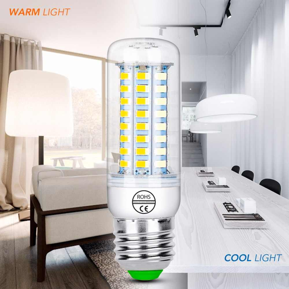 Lampada LED E27 E14 โคมไฟข้าวโพด 220V SMD5730 LED เทียนหลอดไฟ 24 36 48 56 69 72LEDs ampul โคมไฟระย้า Home Kitchen