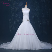 Liyuke Mermaid Wedding Dresses Sleeveless One Shoulder Chapel Train Ivory Wedding Gowns Vestidos De Novia