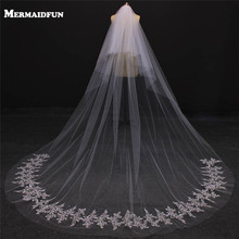 MERMAIDFUN Real Photos 2017 Two Layers Bling Sequins Lace Cathedral Wedding Veils With Comb Tiers Bridal Veil Voile Mariage