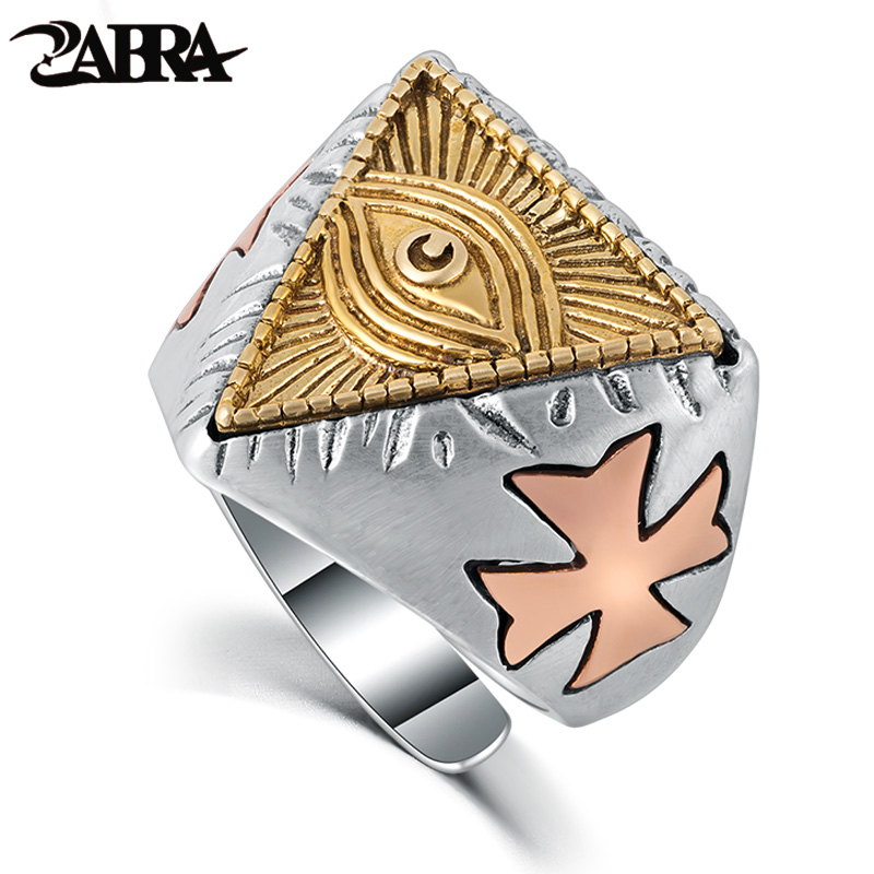 ZABRA 925 Sterling Silver Ring 18mm Gold Color God Eye Cross Sculpture Vintage Ring Men Women Steampunk Christian Ring Jewelry