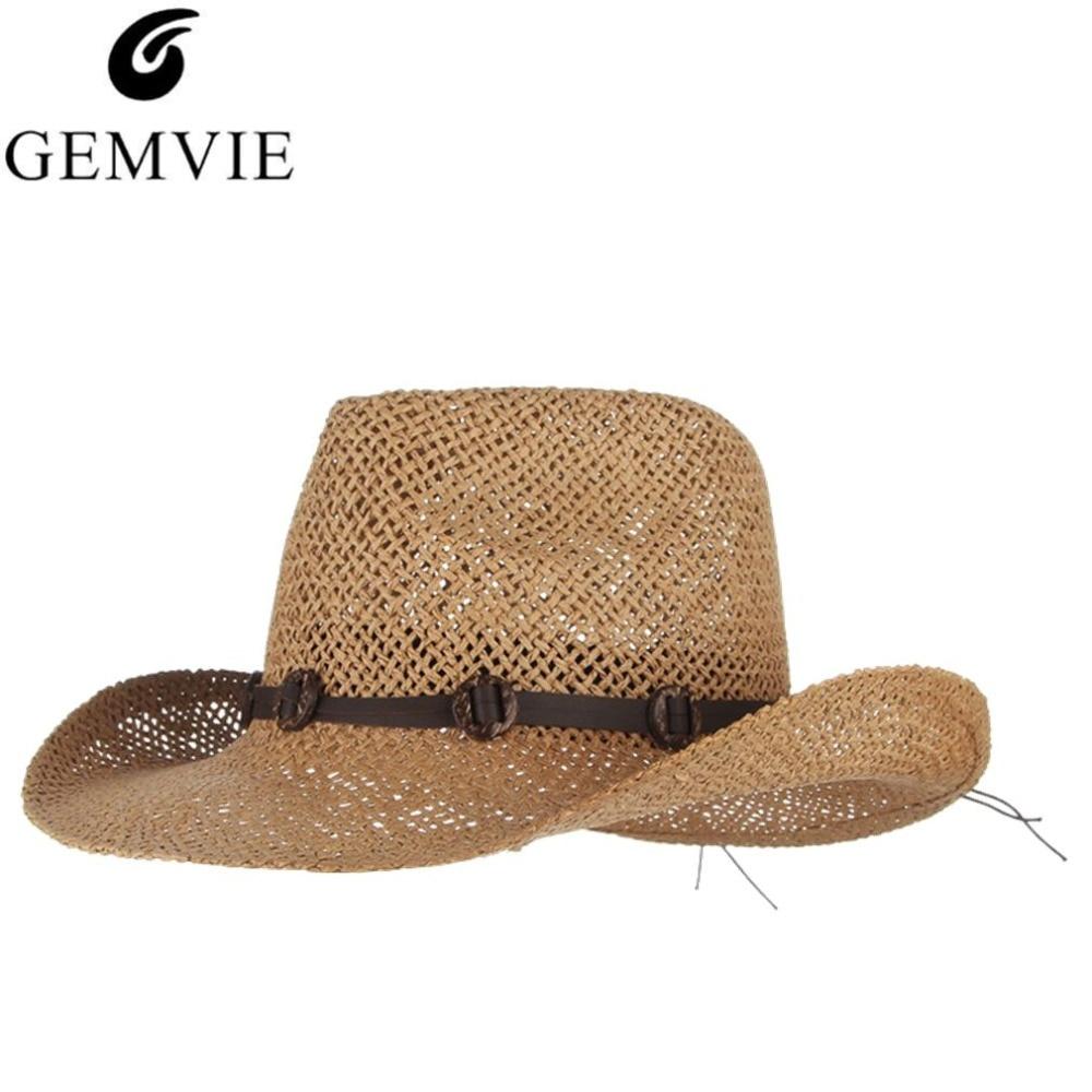 3074b98ef5f7c Chapéus de Verão Para Homens Praia Chapéu de Cowboy do vintage Com Cintos  de Aba Larga chapéu de Palha Panamá Sun Cap Macho Sol-prova cap Jazz