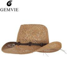 f5f20e53 Vintage Summer Hats For Men Beach Cowboy Hat With Belts Wide Brim Straw Sun  Cap Male Sun-proof Panama Jazz Cap
