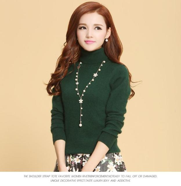 Sweaters High Neck Winter Female Solid Color Turtleneck Long-Sleeved Knitted Soft Warm Wool Pullovers