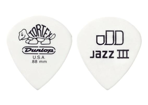 Dunlop Tortex Jazz III White Guitar Pick Plectrum Mediator, 1/piece