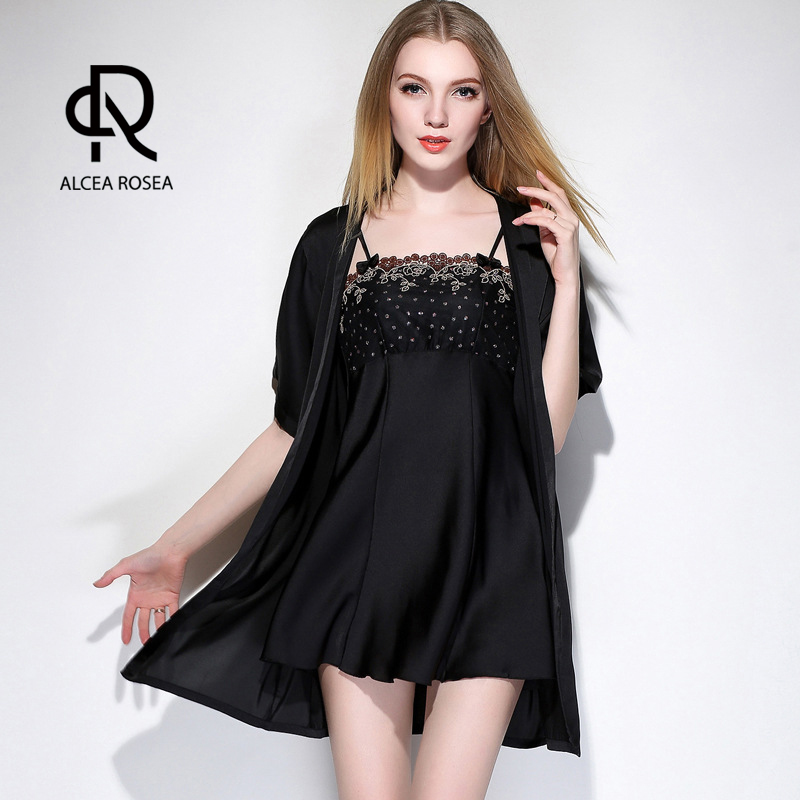 Alcea Rosea Women Robe Sets Sleepwear Sexy Lace Satin Short Robe and Strappy Fashion Bath Robe Dressing Gown With Waistband