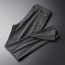 Minglu Flower przędza męskie spodnie luksusowe hafty letnie spodnie męskie wzrost jakości Slim Fit moda miękkie cienkie jednokolorowe męskie spodnie