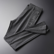 Minglu ดอกไม้เส้นด้าย Mens กางเกงเย็บปักถักร้อยหรูฤดูร้อนกางเกงชายคุณภาพสูง SLIM FIT แฟชั่นบางสีทึบ Mens กางเกง