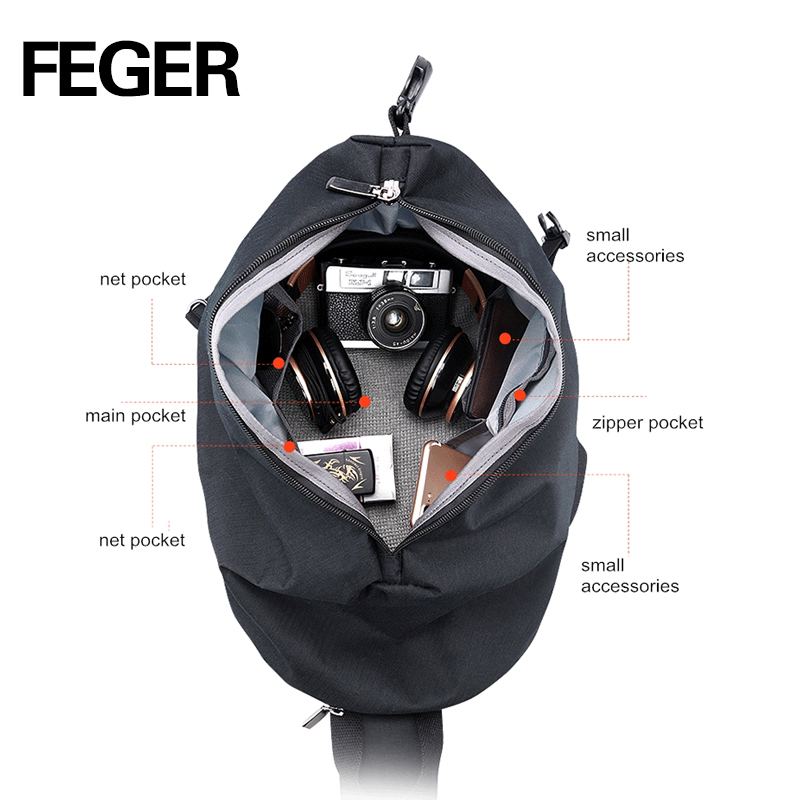 FEGER chest bag Men's Backpack  male School Bag For Teenagers  Laptop Backpacks Men Travel Bags Large Capacity USB charge port large 14 15 inch notebook backpack men s travel backpack waterproof nylon school bags for teenagers casual shoulder male bag