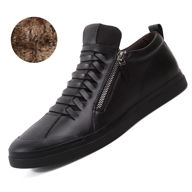 Keep Warm Winter black zipper Men Boots loafers Leather Flats Casual Men Shoes