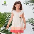 KAMIWA 2016 Sábanas de Algodón de Verano Patchwork A-Line Niñas Vestidos de Partido de La Princesa Apliques de Color Beige ropa de Niños Ropa Niños