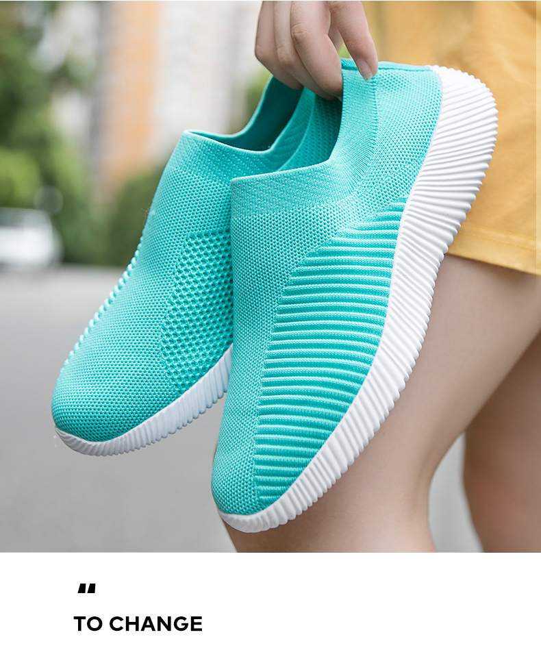 Slip On Flying Knit Women Fashion Sneakers Breathable Flat Heel Casual Shoes Round Toe Low Top Women Shoes XU034 (8)
