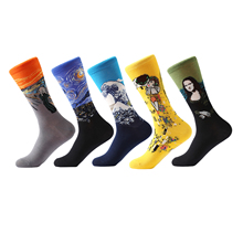 LETSBUY 5 pair/lot Mens Painting socks cotton Retro Oil crew funny sock casual dress colorful wedding gift