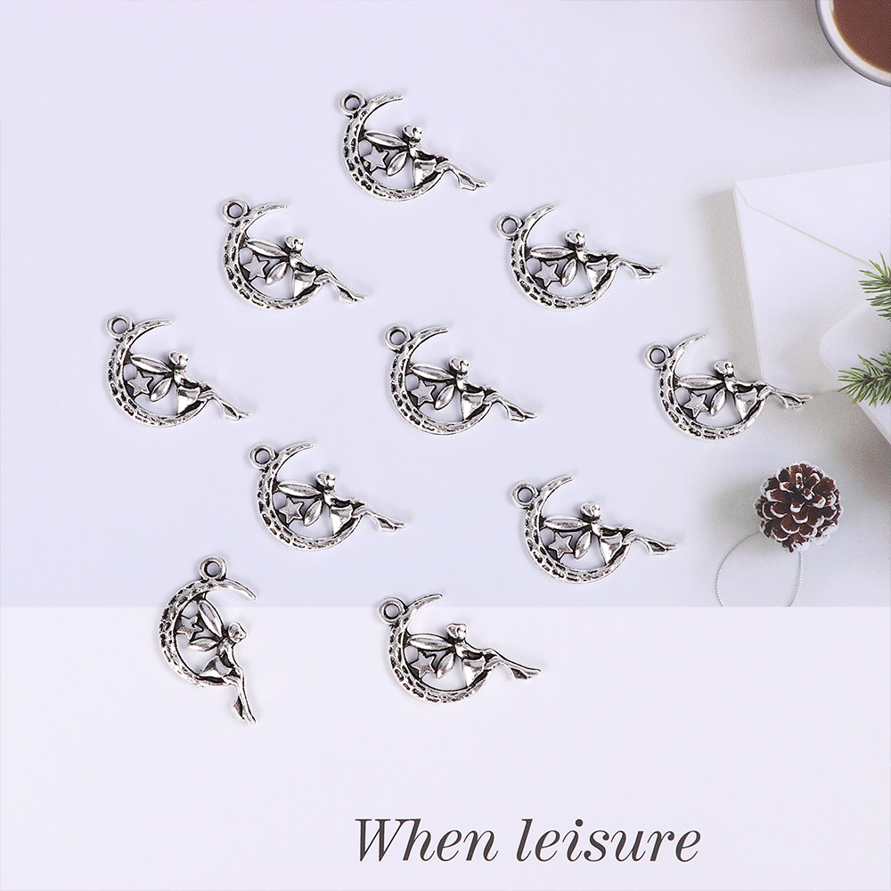 10Pcs Women Fairy Moon Star Pendants DIY Charms Accessories for Jewelry Making