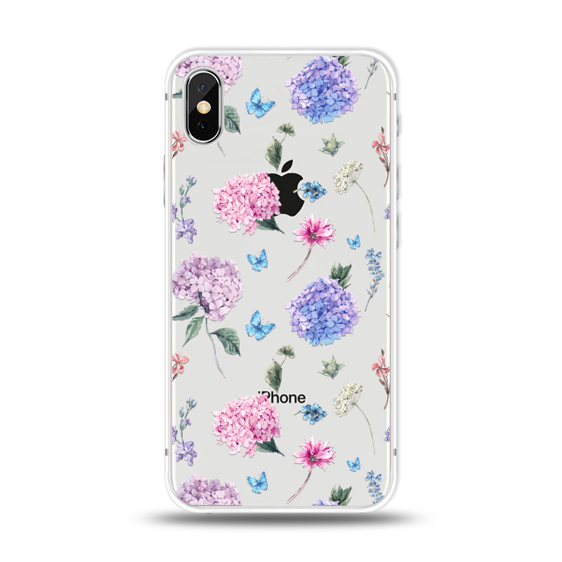 KIPX1027E_1_JONSNOW For iPhone 7 Flowers Pattern Soft Case For iPhone 6 6S 7 8 Plus Clear Back Cover for iPhone 5 5S SE Capa Coque Fundas