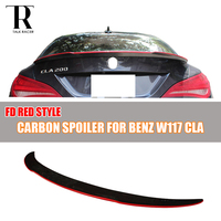 For Mercedes Benz W117 C117 Carbon Fiber Rear Trunk Lid Spoiler FD Style With Red Line