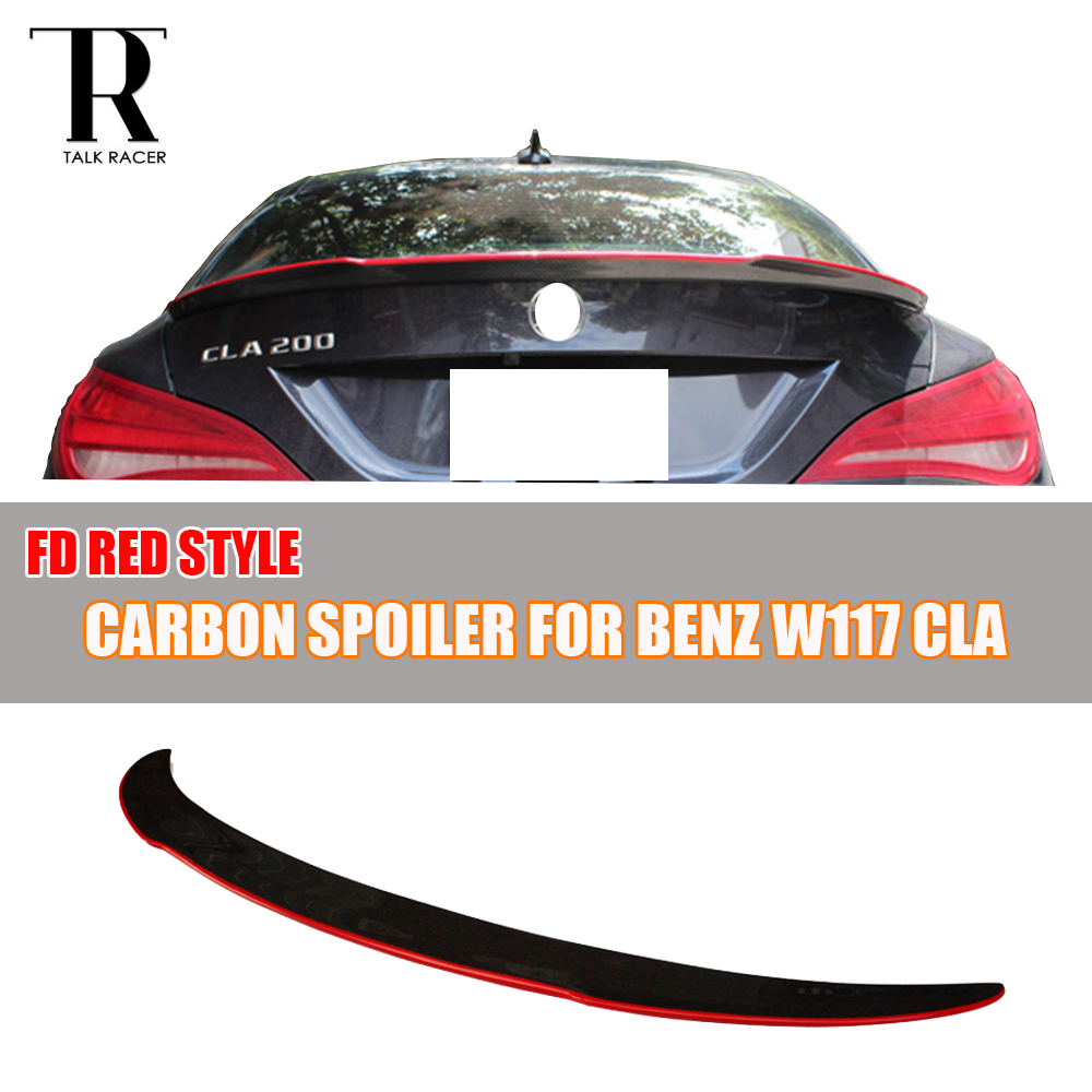 Carbon Fiber for Mercedes Benz CLA W117 C117 Sedan Trunk Spoiler Red FD Style