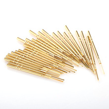 100PCS R100-4VW Brass Tube Test Probe Total Length 38.3mm High Frequency Pin Gold Plated Flat Head Spring Tool