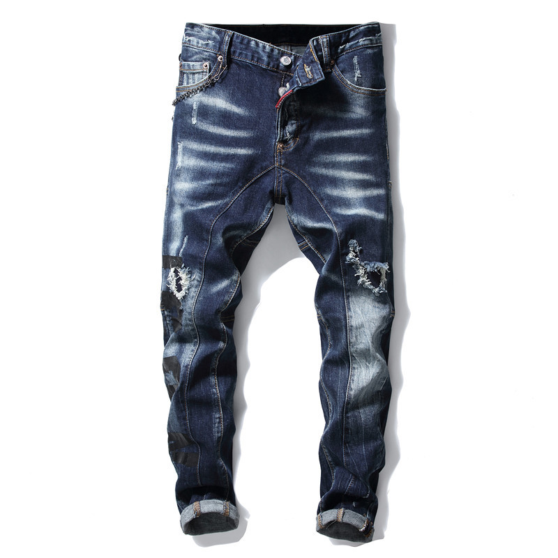 European American Style famous brand mens   jeans   luxury Men straight denim trousers zipper Patchwork Slim blue   jeans   for men 1007