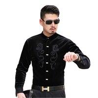 ISMEN Men Shirts Stand Collar Long Sleeve Velvet Dress Shirt Man Business New Arrival Chemise Masculina