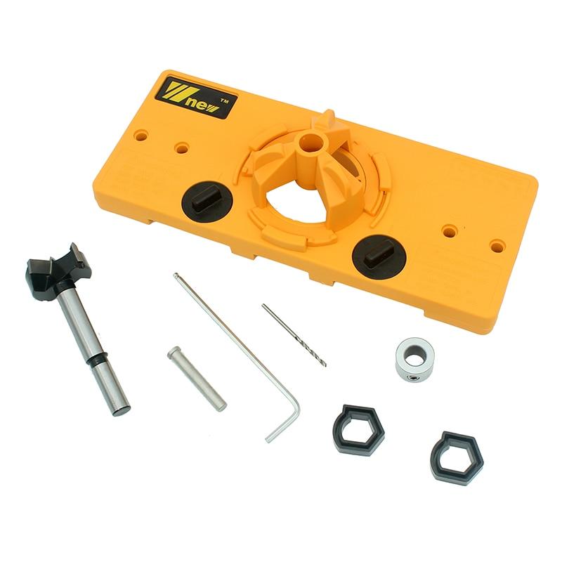 все цены на High quality DIY woodworking tools set 35mm Hinge Drilling Jig + 35mm Forstner Bit Hole opener онлайн
