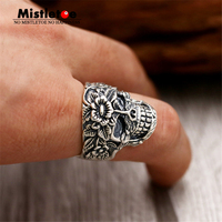 Genuine 100 925 Sterling Silver Vintage Punk Locomotive Lucky Skull With Flower Opening Ring For Women