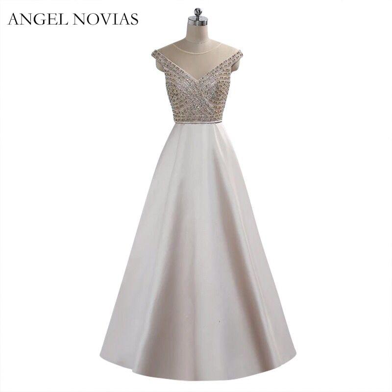 Angel Novias White Evening Dresses 2018 Crystals Plus Size Long