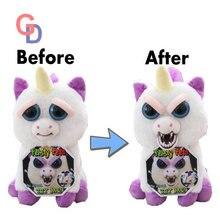 Angry Pets change face unicorn plush unicornio Doll White Bear prank toys stuffed animals doll toys for children Chrismas Trick