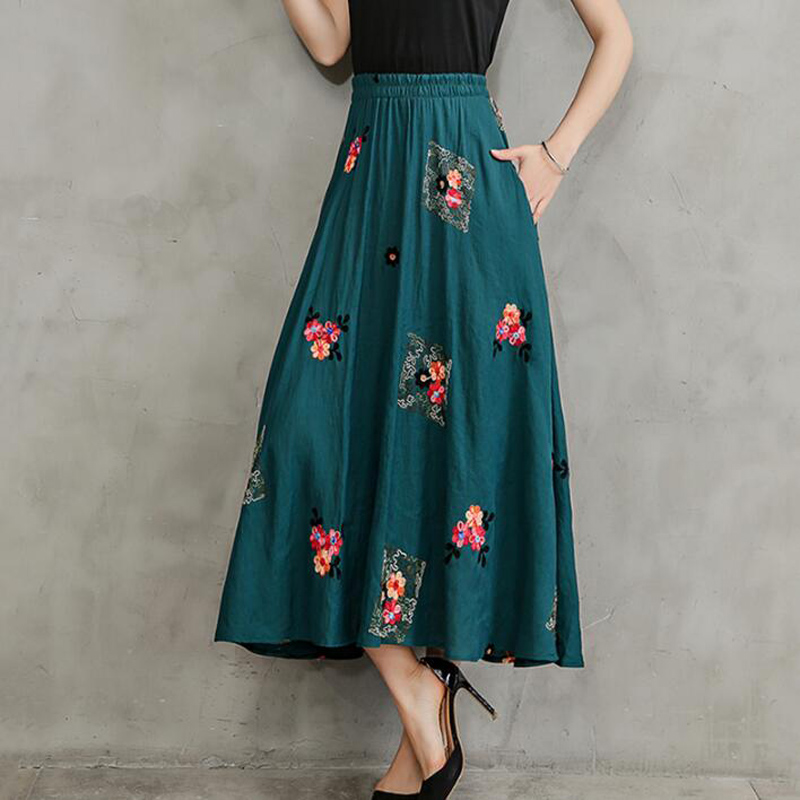 2018 Hot Summer Women Cotton Linen national wind Long Skirt Fashion Vintage Elastic Waist embroidered Skirts Women clothes