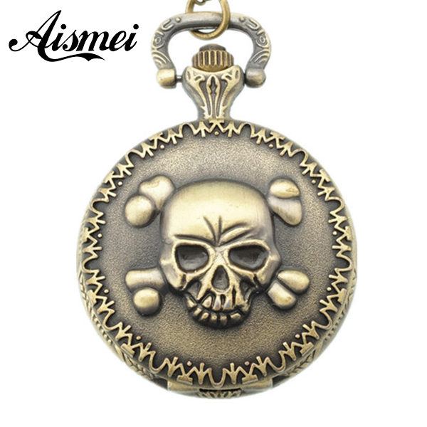 Watches Initiative Pocket Watch Wholesale Antique Fashion High Quality Retro Alloy Skull Pocket Watch 5pcs/lot Delicious In Taste