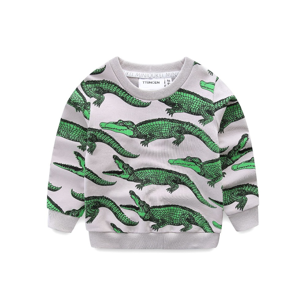 New style European Spring boys girls t-shirt Children's crocodile pattern tops kids cotton High quality clothes