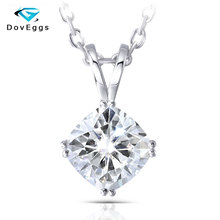 DovEggs Classic Solid 14K White Gold 7.5mm FG Color Cushion Cut Moissanite Pendant For Women Lab Grown Necklace