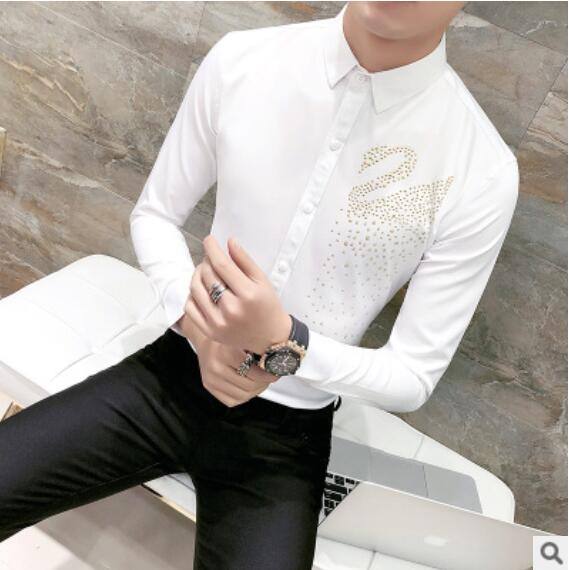 0eec8e4eae 2018 Gold Swan Print Shirt Men Black White Shirt Men Wedding Prom Designer  Shirts Men Slim Fit Long Sleeve Party Club Shirt 3XL