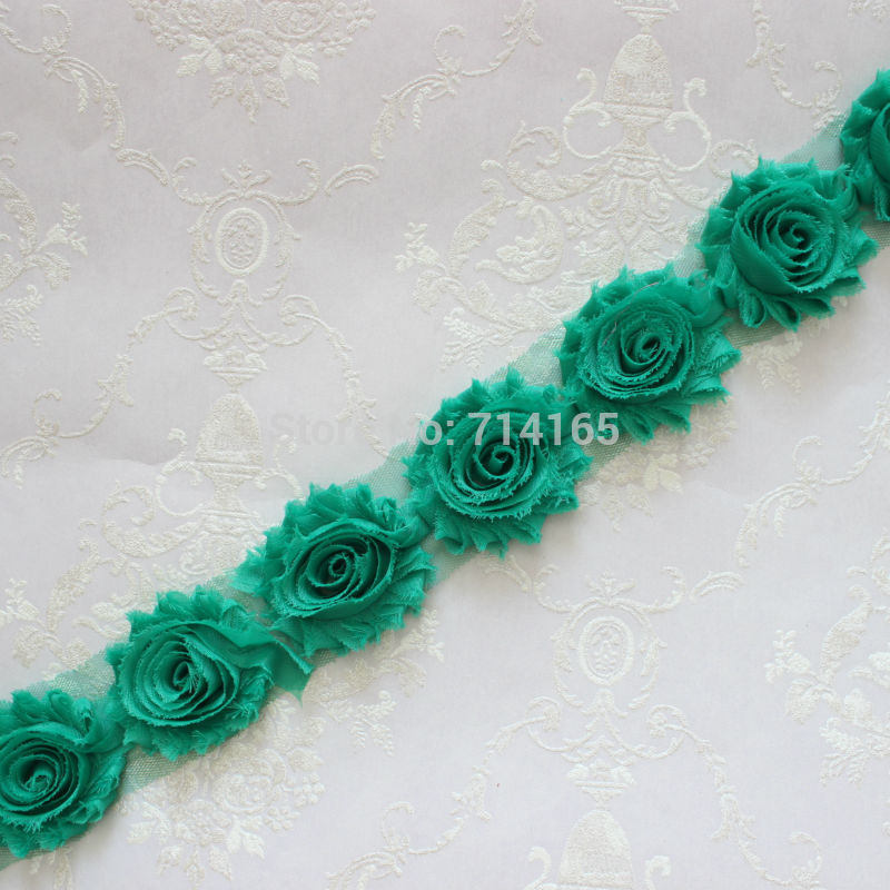 1 Yard Mint Green Chiffon Flower Shabby flower Trim rose flower trim for hai flower headband clothes