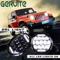 GERUITE 2PCS 7 Led Headlight Kit 75w 35w H4 H13 Hi Lo Beam The Daytime Running Light for Jeep Wrangler JK TJ Lada Niva 4x4 4wd