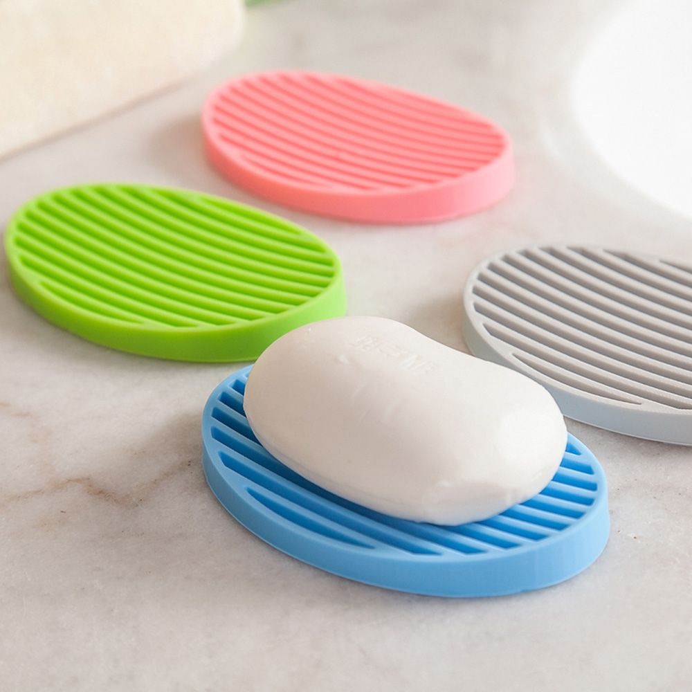 1 PCS Colorful Silicone Flexible Soap Dish Plate Tray Drain Kitchen Bathroom Tools Storage Holder Soapbox
