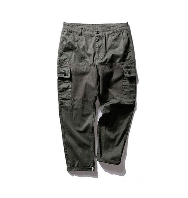 Patchwork Cargo Pants Men 2017 Winter Big Pockets Casual Pants Full length Cotton Pants Men's Trousers Bottom Green Black M-2xl