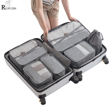 RUPUTIN New 7PCS/set High Quality Travel Mesh Bag In Luggage Organizer Packing Cube Women Men Clothes Storage