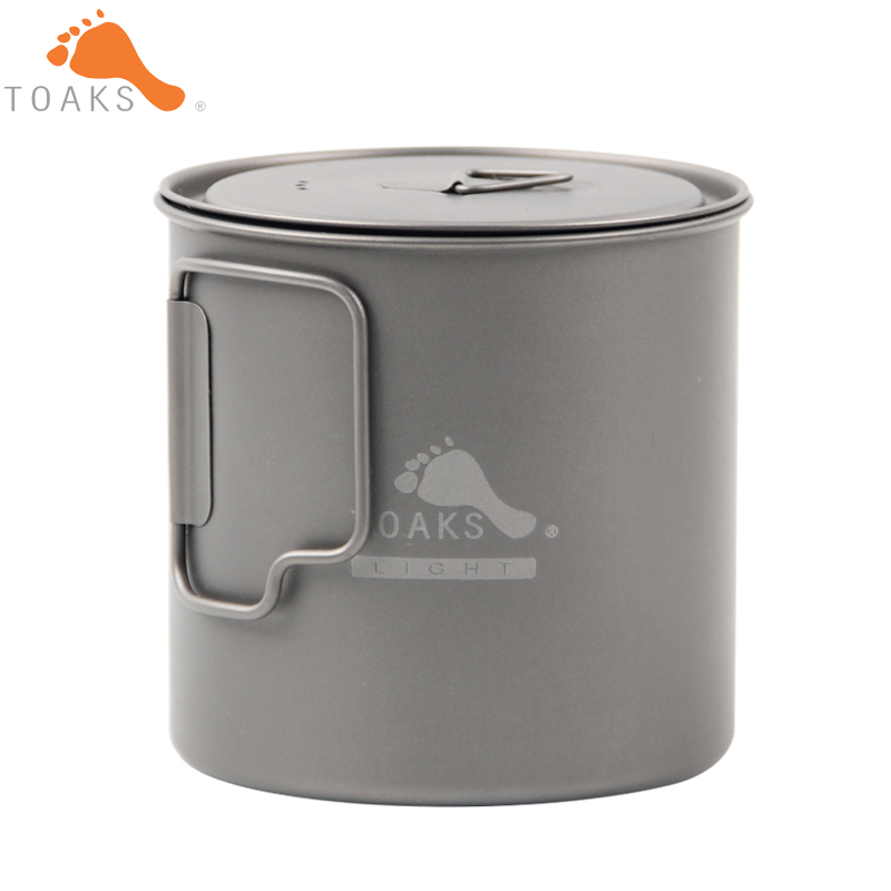 ФОТО TOAKS POT-650-L Titanium Cup 650ML Outdoor Camping Lightweight Pot Picnic Cookware Set Pot Ultralight Titanium Pot