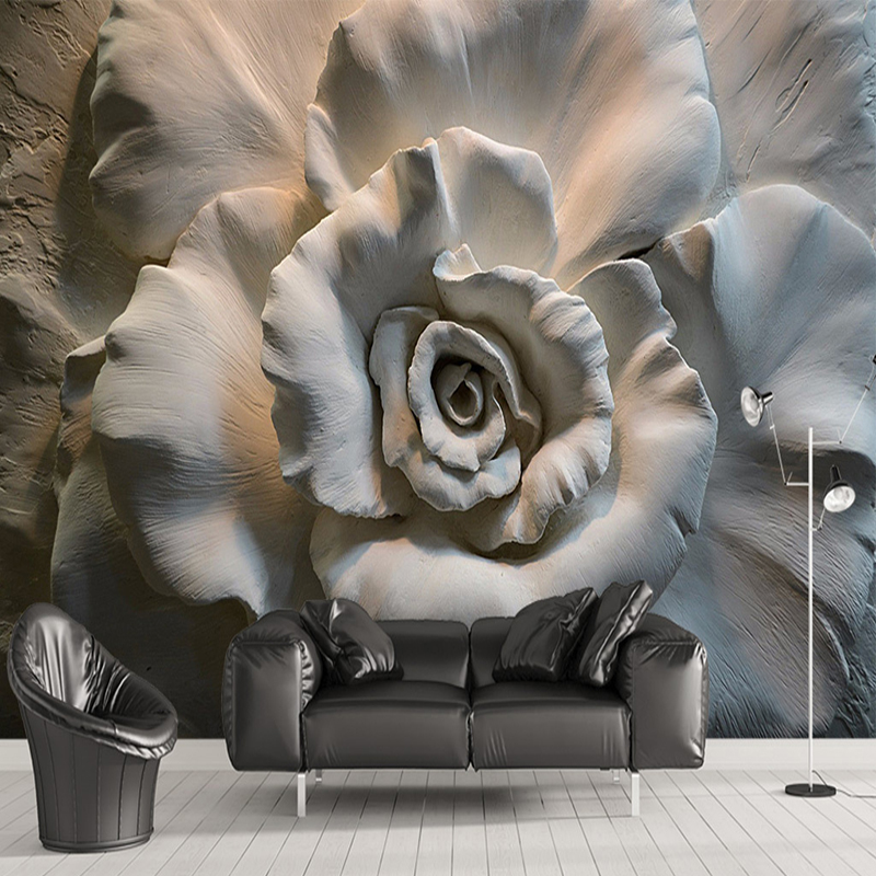 Custom Mural Wallpaper Wall Painting 3D Relief Rose Flower Wallpaper For Living Room Sofa TV Background Wall Mural Home Decor 3D