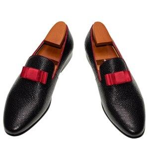 Image 2 - גברים מזדמנים נעלי חתונה בוהן עגול להחליק על אופנה רשמי נמוך העקב קלאסי שחור צבע משתה נשף גברים של עור שמלת חצאיות