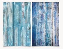 استوديو الصور ثلاثية الأبعاد الطباعة القديمة الخشب الأزرق خلفية مزدوجة الجانبين