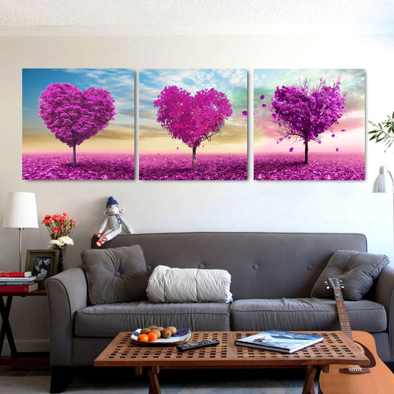 Three-picture Combination New No Oil Single Cuadros 2014 Top  Flower Wall Pictures for Living Room Home Decoration A-028 no frame canvas